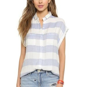 RAILS blue and white stripe short sleeve shirt L